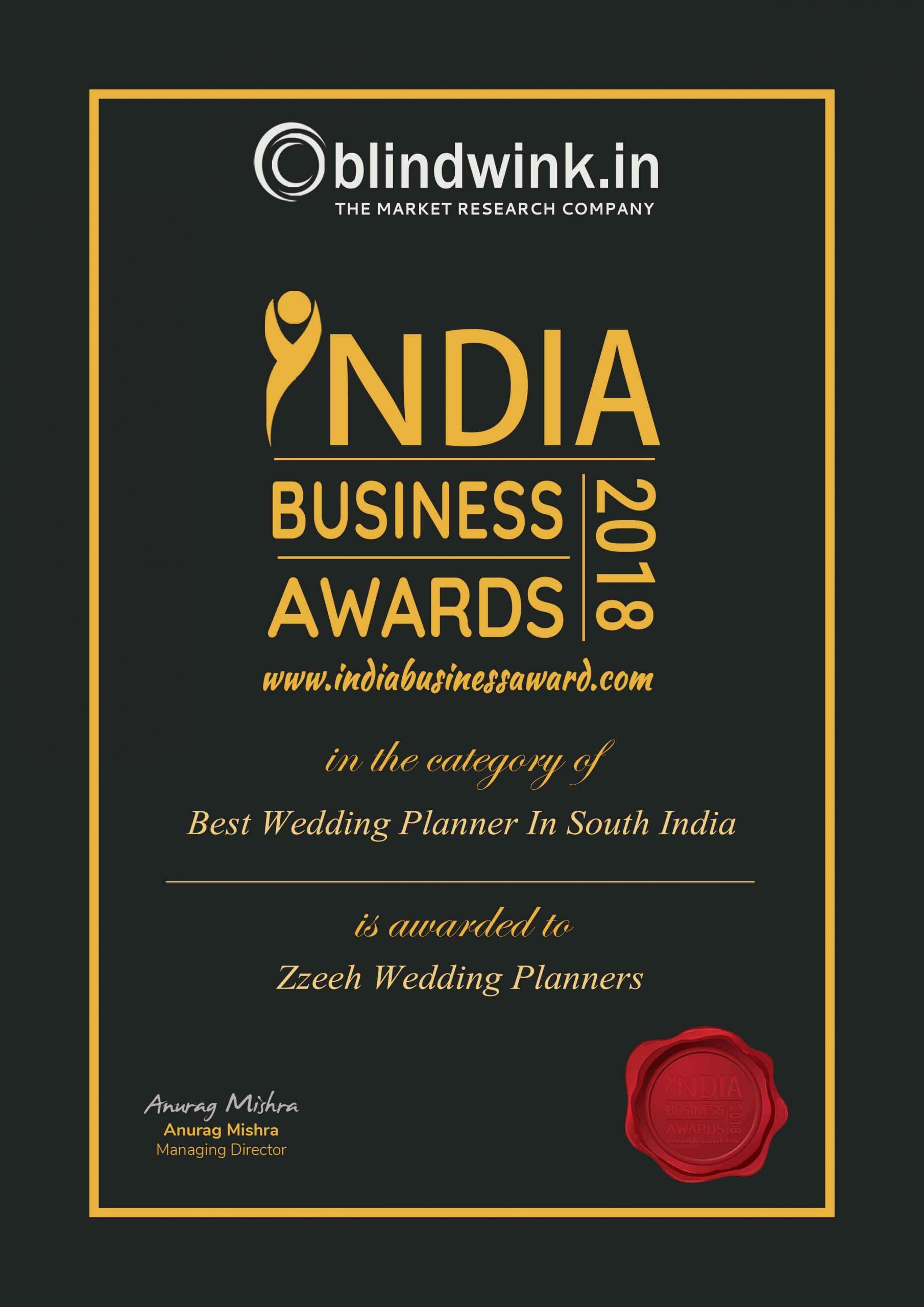 Indian Business Award Best Wedding Planners