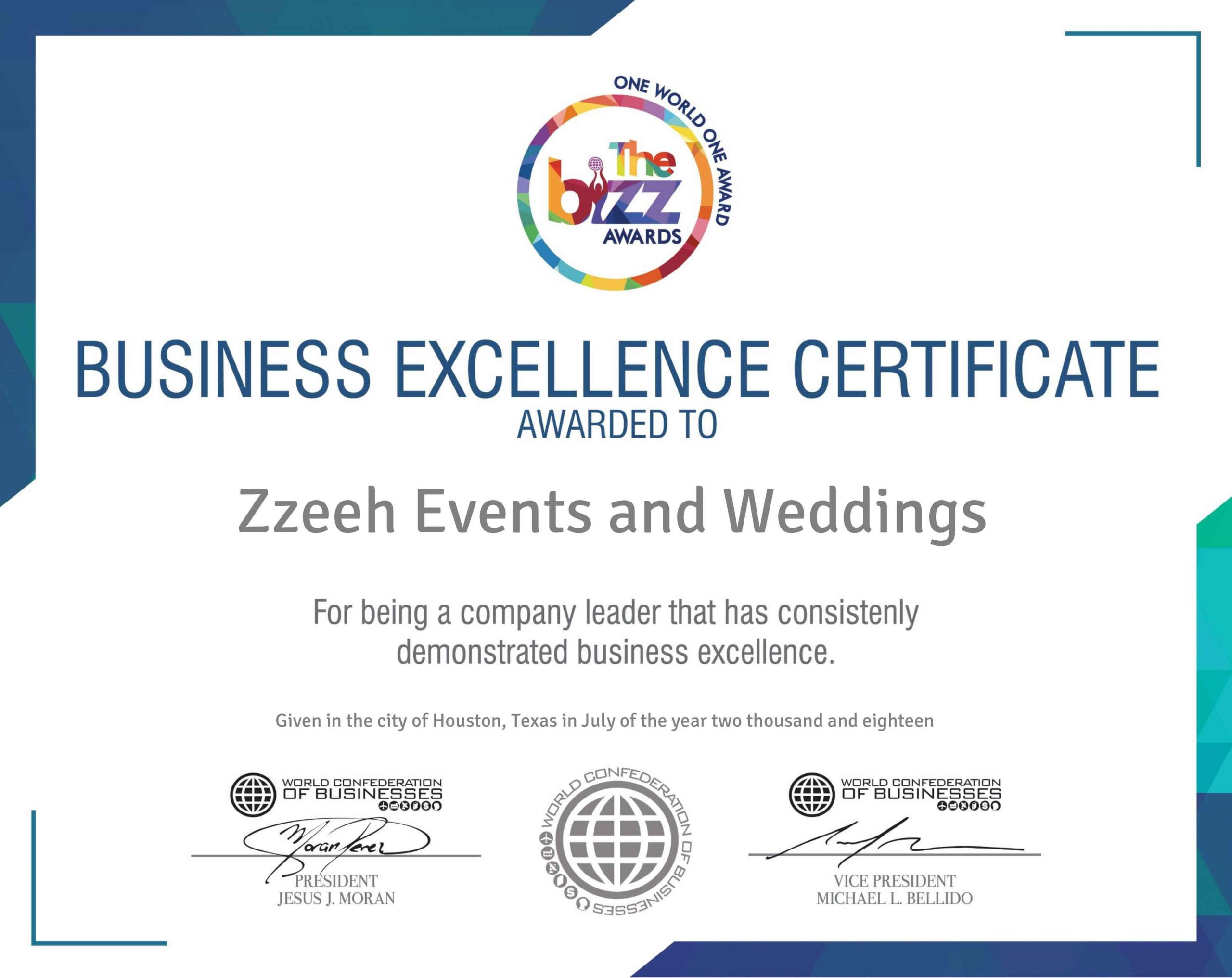 Events and Wedding Planners Business Excellent Certificate